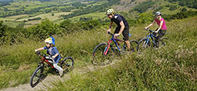 Family cycling at Sutton Bank